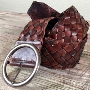 Bed Stu Dream Weaver wide woven brown leather belt